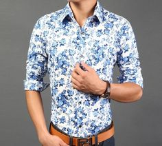 Men's Casual Button Front Floral Shirt Instant savings at Amtify Direct! Buy now and get $10 off instantly. No coupon code require. Fabric: Cotton Blend, Fit: Slim Fit Color Available: Blue, Beige Siz