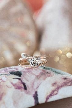 Mixed metal rose gold and silver pavé solitaire diamond engagement ring, criss cross band engagement ring, Cavin Elizabeth Photography