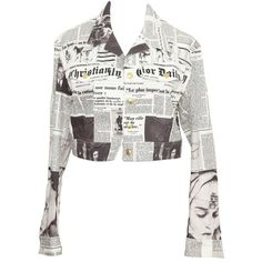 Preowned Christian Dior By John Galliano Newspaper Denim Jacket ($2,499) ❤ liked on Polyvore featuring outerwear, jackets, grey, christian dior, white jean jacket, denim jacket, jean jacket and short-sleeve jackets