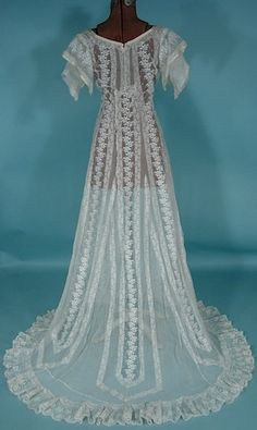 1912 White Embroidered Lace Net Slight Trained Wedding Gown!
