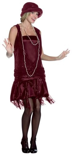 Gatsby Girl (Burgundy) Adult Plus Costume A generation of rebels with short hair and even shorter dresses! Get all dolled up with this Gatsby Girl costume, which includes a Gatsby Girl, Gatsby Look, Gatsby Dress, 1920s Dress, Gatsby Outfit, Flapper Outfit, Gatsby Theme, Flapper Dresses, Party Dresses