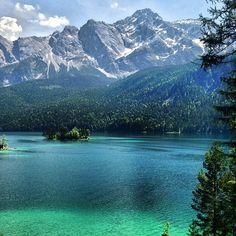 Eibsee Lake, Bavaria/Grainau, Germany. Zugspitze Mountain in background