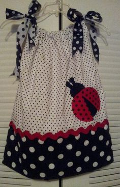 Beautiful Lady Bug Pillowcase Dress by KennedyRenea on Etsy, $35.00 (inspiration only - not a tutorial - but sooo adorable!)  @Cassandra Dowman Dowman Dowman Rose Degan we need some polka dots :D