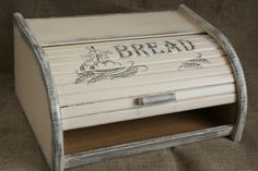Cream Bread Box Bin Wooden Beech Rustic Antique Vintage French Country Breadbox Breadbin