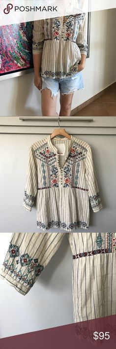 """3J workshop blouse by Johnny Was We love Johnny Was and we especially love this 3J workshop embroider blouse! So many details each perfectly executed. Style it with your favorite jean shorts or with your go to jeans for a """"fab-cash"""" look. Johnny Was Tops Tunics"""