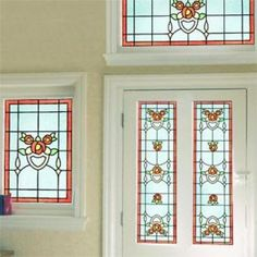 Self Adhesive Stained Glass Film patterns for period, heritage & contemporary properties. Stained Glass Designs, Stained Glass Patterns, Stained Glass Art, Stained Glass Window Film, Glass Texture, Art Deco Design, Glass Panels, Colored Glass, Narrowboat