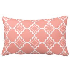 Coral Pink Quatrefoil Geometric Pattern Throw Pillows