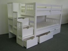 Bedz King Stairway Bunk Beds Twin over Twin with 3 Drawers in the Steps, White Bunk Beds With Drawers, Bunk Beds With Storage, Bunk Bed With Trundle, Full Bunk Beds, Bunk Beds With Stairs, Kids Bunk Beds, Bed Storage, Extra Storage, Loft Beds