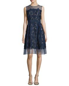 TBQKL Carmen Marc Valvo Sleeveless Lace Fit & Flare Cocktail Dress