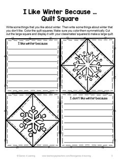 Winter Writing Prompts Quilt from Games 4 Learning. 7 printable Winter writing prompts to make a class Winter quilt. $