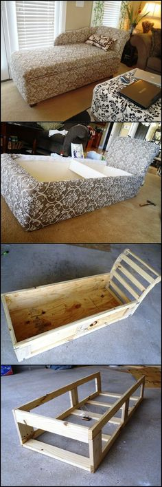 DIY Sofas and Couches - DIY Chaise Lounge With Storage - Easy and Creative Furniture and Home Decor Ideas - Make Your Own Sofa or Couch on A Budget - Makeover Your Current Couch With Slipcovers, Painting and More. Step by Step Tutorials and Instructions Pallet Furniture, Furniture Projects, Furniture Makeover, Home Projects, Home Furniture, Refurbished Furniture, Bedroom Furniture, Furniture Design, Trendy Furniture
