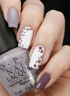 Gray plum and white nail polish combination. Design your nails with white and plum gray polish in polka dots designs for that classy yet cute look.: