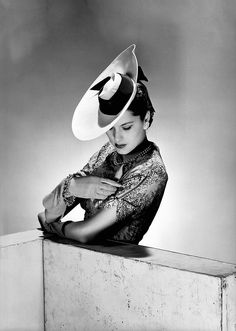 * The latest hat model Vogue Studios London april 1942 - photo Lee Miller