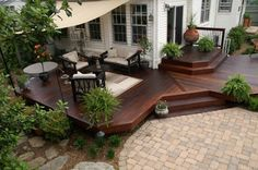 Transition deck to patio; multi-layered