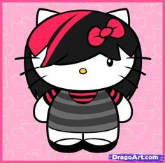 How to Draw Emo Hello Kitty, Emo Kitty