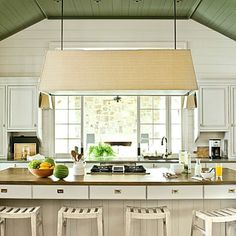 bill-ingram-lake-house-kitchen-southern living, Ben Moore Galapagos green oil paint on ceiling in high gloss Bill Ingram, Classic White Kitchen, Kitchen White, Country Kitchen, Villa, Palette, Functional Kitchen, White Kitchen Cabinets, Kitchen Counters