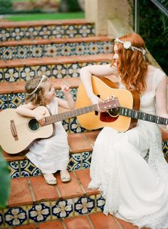 adorable boho bride and flower girl // photo by Justin DeMutiis
