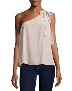 Romana+One-Shoulder+Silk+Blouse,+Dusty+Mink+by+Joie+at+Neiman+Marcus.