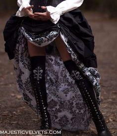 Steampunk DAMASK Black & White Double Bustle Taffeta Skirts-ready to ship