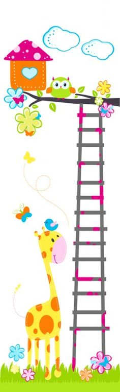 Muursticker paneel Boom met vogel, uil, giraf - 75 x260cm | Stickers kinderkamer | 101 kinderkamer ideeën & decoratie