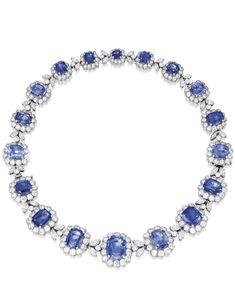 Ceylon sapphire, diamond, and platinum necklace