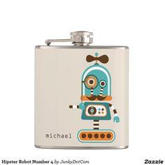Hipster Robot Number 4 Hip Flask Dec 12 2016 @zazzle #junkydotcom #zazzle #december #2016 #holidays