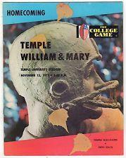 1971 TEMPLE UNIVERSITY William & Mary COLLEGE FOOTBALL PROGRAM NCAA Owls TRIBE