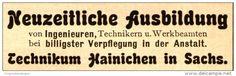 Original-Werbung/ Anzeige 1924 - TECHNIKUM HAINICHEN IN SACHSEN  - ca. 60 x 20 mm