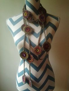 Crocheted Circles Lariat Necklace or Long Scarf by AmyBaglione, $44.00