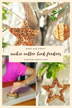 Learn how to make cookie cutter bird feeders. Such a simple kids' craft and so fun to make together. Gather your cookie cutters and birdseed and get crafting! Best Bird Feeders, Homemade Bird Feeders, Diy Bird Feeder, Bird Feeders For Kids To Make, Crafts For Kids To Make, Art For Kids, Cookies For Kids, How To Make Cookies, Diy Cookie Cutter