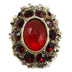 """Red Baroque Brooch Vintage Pin Rhinestone Gold Tone Large Brand: Unbranded Measures: 2"""" x 1 3/4"""" (5.08cm x 4.44cm) Color: Red Metal: Gold Tone Stone: Rhinestone In pre-owned condition with no damage o"""