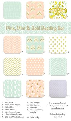 Pink Blush Peach Gold Mint Custom Crib Bedding Custom Toddler Bedding Nursery Decor Bumpers Crib Sheets Crib Skirts Teething Rail by ColorCornerShop on Etsy