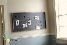 Clothesline - 10 DIY Memo Boards to Make . Memo Boards, Diy Memo Board, Bulletin Board, Wall Boards, Chalk Board, Bookshelf Plans, Desk Plans, Wood Platform Bed, Pottery Barn Teen