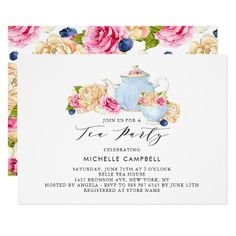 483 best feminine baby shower invitations images on pinterest in watercolor floral tea party invitation filmwisefo