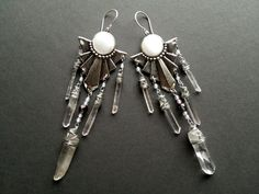 Shield of the Goddess- Raw Quartz Crystal Chandelier Earrings with Silver Shields and Vintage Beads on Etsy, $54.00
