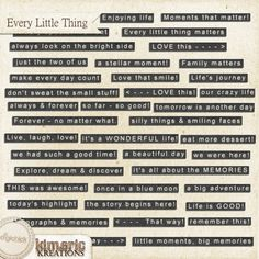 Every Little Thing (wordstrips)