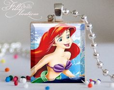 ARIEL (1) - a jewelry pendant charm made from a Scrabble Game Tile game piece with Ball Chain Necklace, handmade by Frilly Chili
