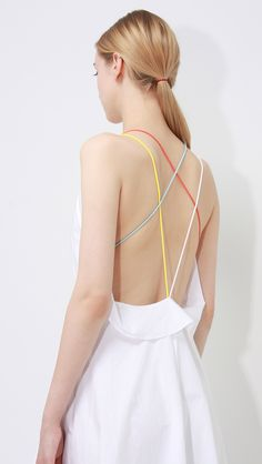verona dress – LOÉIL     (Bright multicoloured strappy back detail that goes around to create a beautiful bright waistband)