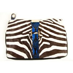 Jimmy Choo Zebra print pony skin fur, blue snake trim clutch handbag