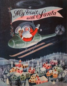 #1590 50s Mid Century Santa Flies a Helicopter! Vintage Christmas Card-Greeting
