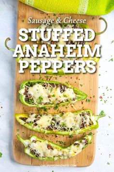 A recipe for mild Anaheim peppers stuffed with seasoned Italian sausage and melty cheese, perfect for grilling or baking. A quick and easy weeknight meal. Stuffed Anaheim Peppers, Stuffed Banana Peppers, Stuffed Poblano Peppers, Recipes With Chicken And Peppers, Spicy Chicken Recipes, Mexican Food Recipes, Best Appetizers, Appetizer Recipes, Vegetarian Stuffed Peppers