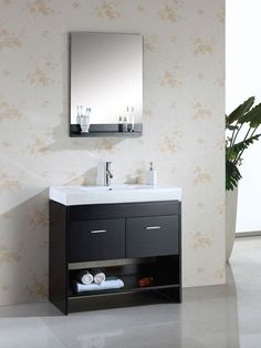 Virtu Gloria Single 36 Bathroom Vanity Set in Espresso Narrow Bathroom Vanities, Small Bathroom With Shower, Bathroom Wall Cabinets, Single Sink Bathroom Vanity, Wooden Bathroom, Single Bathroom Vanity, Bath Vanities, Bathroom Furniture, Bathroom Storage