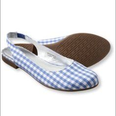 L.L. Bean sling back shoe Great condition. LL Bean quality sling back blue and white checkered flats L.L. Bean Shoes