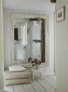 & Tiny Houses The Oyster Catcher holiday in Mousehole, Cornwall.The Oyster Catcher holiday in Mousehole, Cornwall. Shabby Chic Spiegel, Giant Mirror, Huge Mirror, Big Mirrors, Mirror Mirror, Floor Mirrors, Hallway Mirror, Big Mirror In Bedroom, Foyer