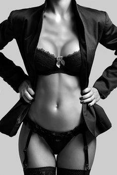 Boudoir - Lingerie - Garters - Portrait - Editorial - Black and White Photography - Pose Idea / Inspiration