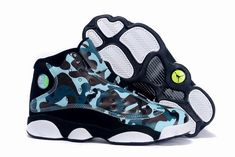 "uk availability 317b8 3d0c0 Buy Girls Air Jordan 13 GS ""Army Camo"" Custom Black White Teal For Sale  2574 from Reliable Girls Air Jordan 13 GS ""Army Camo"" Custom Black White  Teal For ..."
