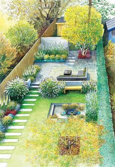 A Peaceful Getaway Within Your Back Yard: Garden Tips - Easy Garden Plants - Himalaja-Birken als Gerüstbildner Best Picture For dream garden For Your Taste Yo - Garden Design Plans, Landscape Design Plans, Small Garden Design, Small Garden Plans, Urban Garden Design, Very Small Garden Ideas, Narrow Backyard Ideas, Rectangle Garden Design, Small Garden Layout