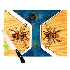 Bees Geometric Cutting Board @KESS InHouse  http://kessinhouse.com/collections/brittany-guarino-bees/products/brittany-guarino-bees-cutting-board
