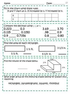 math worksheet : daily math free samples and math on pinterest : Fifth Grade Math Review Worksheets