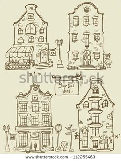 Hand drawn old houses, old town, sketch, doodles, isolated - stock vector